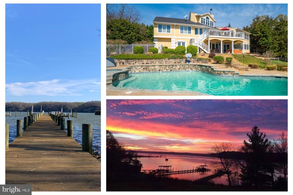 """Living on the water is magical. Especially, on historic Marlborough Point. Stafford County's most valuable and sought-after waterfront community. 37 Louie Ln is move-in ready with views of Potomac Creek and Potomac River.  You'll have your own private beach, dock, boat lifts, boat barn for storing your toys, stand alone hot tub and in-ground salt water pool and hot tub. The home is an open floor plan concept with Kitchen, Dining and Family Rooms at the heart of the home. There are 3 bedrooms on the main level including the Master Suite. The main level also features a gym. There is a upper level office with amazing view to the 301 bridge. The Entry level floor offers 1 Bedroom , Bathroom, Kitchenette, Bar/Rec Room and Media Screening area. Dual Stair Case. Upper Deck. Covered Patio, Open Patio. 220' Ft Dock with 2 Boat Lifts and additional boat parking. Excellent home for entertaining! Enjoy views of the Potomac River while nestled behind the point of Marlborough Point. The cove of Potomac Creek is a protected inlet from the harsh tides and storms that can brutalize the Potomac River.  Enjoy excellent fishing, kayaking, paddle boarding on the calm water.  There are an abundance of Bald Eagles, Osprey, Geese and hundreds of other bird species active year round.  Kayak or boat around the corner to the Crow's Nest Peninsula which is approximately 3,800 acres of protected wilderness area. Just a quick boat ride across to the King George side you can enjoy dining, live music and entertainment at both Tim's Rivershore and Rick's on the River. Or continue southeast to Giligan's  or Port Tabacco in MD. In less than an hour you can enjoy Colonial Beach. Or go north and within an hour you can be to National Harbour, Historic Alexandria and watch planes land and take off at DCA. Enjoy the DC monuments and dining in Georgetown  by boat. This is truly liking being on an endless vacation. """"The Point"""" is a great Community with lots of social activities including the Marlborough Poi"""