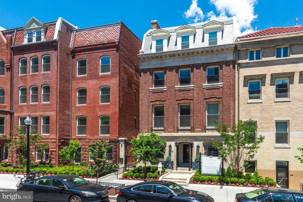 This is a unique floor plan at The Historic Row at 1745N.  #213 is a 2 bedroom, 2  bathrooms, high ceilings,  SOUTH facing home that features an expansive floor plan, and an END residence with lots of natural light and spectacular views including the historic row homes and cherry trees across the one-way street.  Wide open floor plan.  Experience the finer details throughout including stainless steel appliances (gas cooking), wide-plank premium hardwood flooring, custom cabinetry and more. The Historic Row at 1745N offers a concierge, package room, bike room, and courtyard.  #213 INCLUDES an underground garage parking space in its price.  Find yourself relaxing in the courtyard, take the historic, beautifully restored grand stairwell, or the elevator to your home. Let's not forget the location: a tree-lined Dupont Circle street where Iron Gate, Tabard Inn are among the neighbors. Immediate delivery.   Historic charm with modern sensibilities:  The Historic Row at 1745N Dupont.
