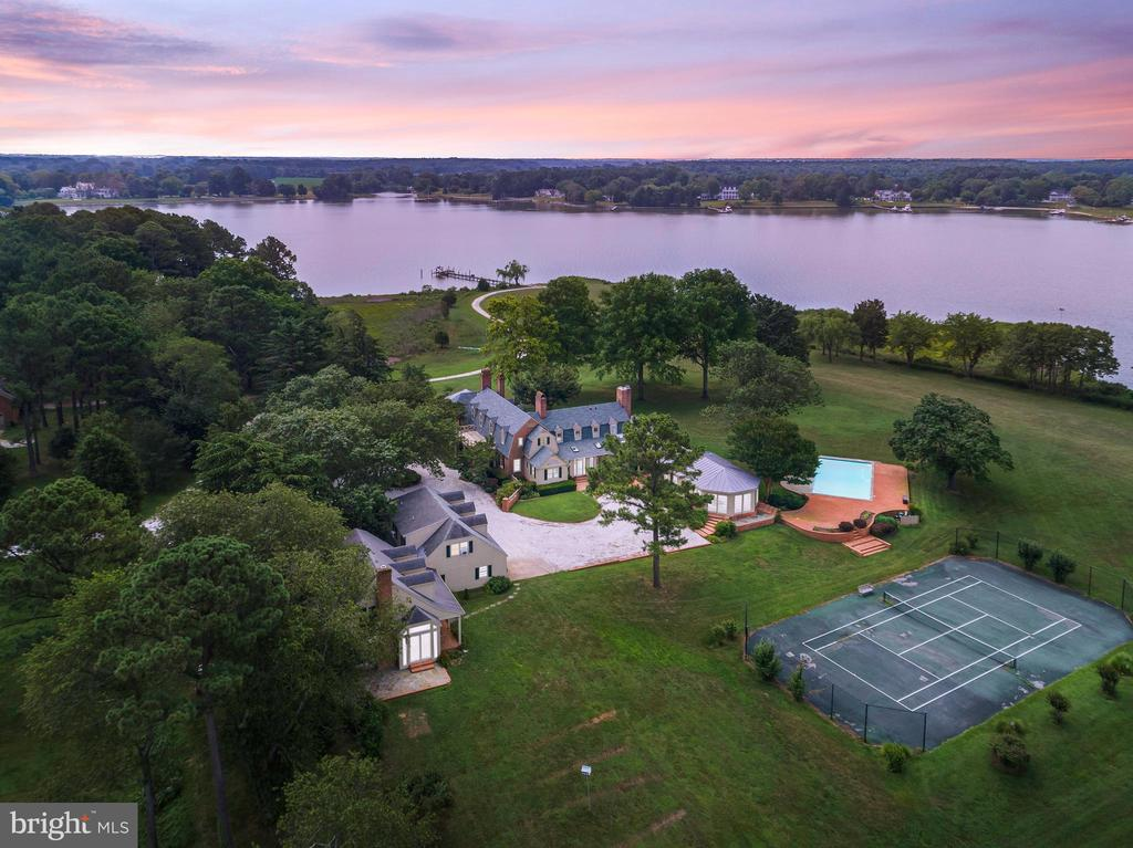 Talbot County~s Finest Estate!  Five parcels totaling over 285 acres.  5BR/6FBA/1HBA Main house sited on a 37-acre point of land on the Tred Avon River with panoramic water views, sunsets, tree-lined driveway, dock, heated pool, tennis court, tidal pond, 3BR/2FBA guest house, detached 3-bay garage with 1BR/1FBA apartment above, spacious brick barn with partially-finished second level, and additional detached 4-bay garage.  Other parcels include 26+ waterfront/inland agricultural acres with pond, 28+ agricultural acres, 31+ agricultural/wooded acreage with natural impoundment, and 161+ wooded acreage.  Deer, geese, duck, and turkey abound.