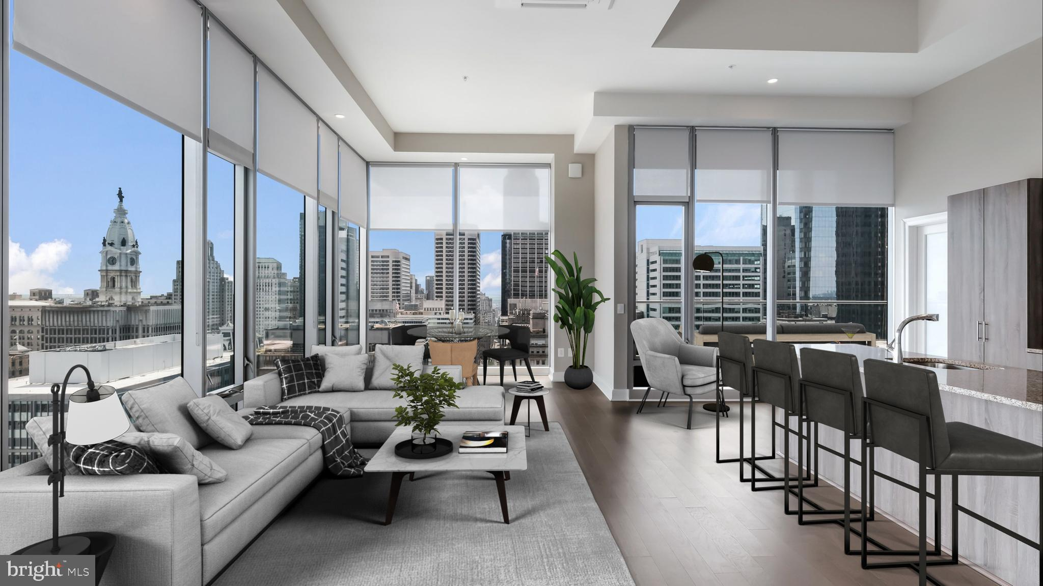 LIMITED TIME SPECIAL: RECEIVE ONE MONTH'S FREE RENT ON A 13 MONTH LEASE , A $1000 MOVE IN CREDIT, WAIVED APPLICATION FEE, AND WAIVED AMENITY FEE, OR 2 MONTH'S FREE RENT ON AN 18 MONTH LEASE!! PENTHOUSE 21!!! You are at the top of it ALL!!! Your CENTER CITY skyline and ART MUSEUM VIEWS, are OUTRAGEOUS!!! This must see 2 BEDROOM residence at FRANKLIN TOWER, offers THE BEST, in high rise living. All open living and DINING area. Kitchen with breakfast bar, stainless steel appliances, and custom cabinetry. Gracious bedroom, and fantastic bath. This sun splashed residence is EXTRAORDINARY, and this new APARTMENT building community boasts, GARAGE PARKING, and one of the following on EVERY FLOOR: gyms, community rooms, business centers, screening rooms, and SPIN ROOMS. The ROOF DECK is the LARGEST in PHILADELPHIA and has 360 degree AMAZING VIEWS!!!!!!!!! This is a MUST SEE Life style property, just minutes from fantastic dining, entertainment, I95, I676, Kelly Drive, The Barnes, and Whole foods Market.  Photo's are of model unit.