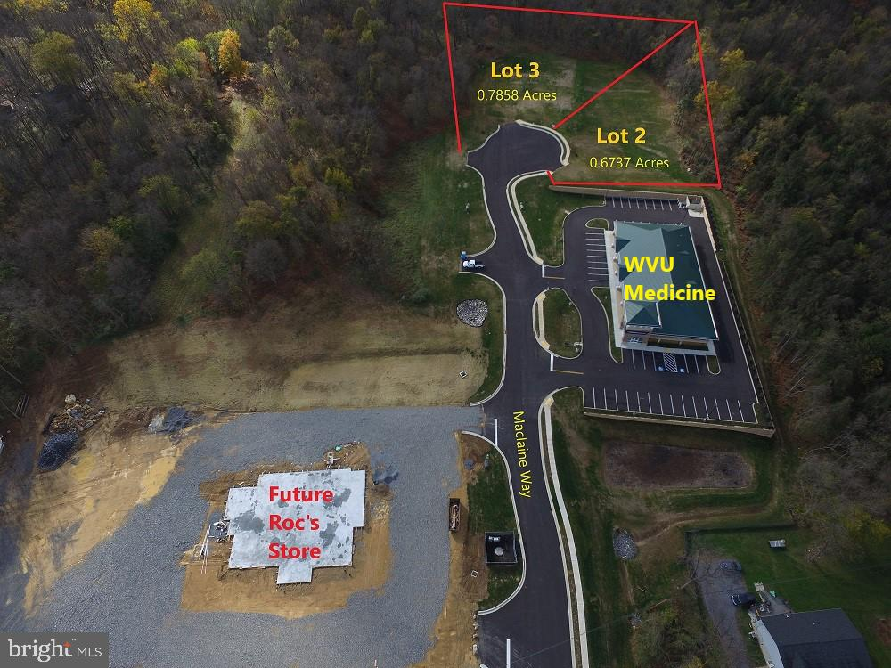 The original parcel was 4.44 acres.  WVU Medical Center is located on Lot 1.  Lot 2 will be available for $775000. (.67 acres) Lot 3 is .79 acres for $790000.  Zoned Mixed Use. See attached plat.  Super location near new library to be built and the new Roc's Convenience Store to be built. Pedestrian friendly to Shepherdstown  and  Shepherd Uiversity!  DRIVE THROUGH WINDOWS ALLOWED!  Bring on fast food,  and carry out Bring us your ideas. Agent is part-owner.