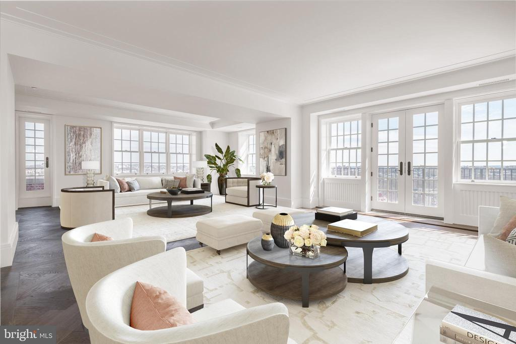 There are buildings, and then there is Wardman Tower. Welcome to Penthouse Four.  A unique and well-appointed spacious penthouse adorned with a modern layout that leads through gallery walls into spacious living and entertaining spaces on one side and two private bedroom quarters all with luxurious en-suite bathrooms on the opposite side. This expansive home offers an eat-in kitchen with custom cabinetry by sustainable American brand Henrybuilt; Thermador appliances; Pentalquartz coastal gray quartz countertops with Danby Royal marble backsplash.  Penthouse Four offers a stunning library with a fireplace. The residence has a large open dining and living space with sweeping Monument and city views with a vantage point overlooking the Taft Bridge crossing over Rock Creek Park to Kalorama. Throughout the entire residence are gleaming herringbone 6 inch wide oak Admonter wood flooring with custom millwork and generous closet space.  The primary suite bathroom has radiant heated floors; custom painted vanities with soft close cabinetry; custom designed stone tile flooring; Danby Royal tile on walls and countertops with nickel polished custom Watermark plumbing fixtures. The en-suite guest bathrooms will not disappoint with stone mosaic tile; glazed ceramic tiles on wet walls and Porcelanosa krion solid surface countertops. Penthouse Four includes 3 parking spaces and a storage closet.  Penthouse Four provides a winding staircase leading up to your own private roof top terrace overlooking the city and the iconic National Cathedral. Numerous balconies with palladium windows complete this stately residence built by Henry Wardman in the 1920s and recently reimagined by Deborah Berke Partners. Each residence at Wardman Tower occupies part of a wing, radiating out from a central core making each residence unique. All 32 residences project toward the windows and the greenspace below landscaped by Michael Vergason Landscape Architects on 2.5 acres of lush grass, trees, and garde