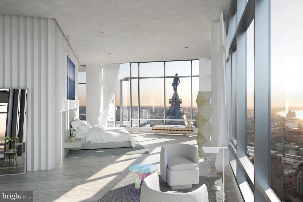 Black Label is pleased to present, for the very first time in the building's history, an inspired vision of possibilities for an exceptional bespoke home. The Penthouse at The Ritz-Carlton Residences of Philadelphia offers 10,000 SQFT of natural space and panoramic views of our historic city from the entire 46th floor.  Designed by Adam Frampton, principal of renowned New York City architecture firm ONLY-IF, with interiors created by the talented team of Spencer + Nipon, offers three thoughtful master plans, each customizable with an extraordinary level of finishes and furnishings.  This spectacular full floor residence has direct elevator access that transports you to a home of unparalleled sophistication and detail that offers an unequaled living experience in the city. Significant features include a Virtual Meeting and Screening Room, a private Gym and Wellness area with custom sauna, one thousand bottle wine cellar and Tasting Room, wet bar, two gas fireplaces, personal outdoor space offering unobstructed views along the skyline, and substantial gallery space for a curated collection of art.  Parking also available for 3+ cars.   Appreciate the luxuries, conveniences, and privacy of your sky-top residence with discretion only a world-renowned luxury brand such as The Ritz-Carlton can offer. Private appointments available for qualified clients.