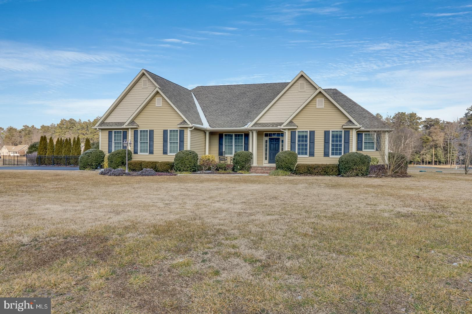 """Beautiful custom Ranch with in ground salt water pool! This home originally a """"builder's home"""" with many custom upgrades. Beautiful hardwoods, coffered family room ceiling. Master suite. 4 total bedrooms with walk in closets in all. The rear patio is completely covered. White kitchen cabinets in like new condition. Huge mudroom/laundry off of the garage. A rare opportunity!"""