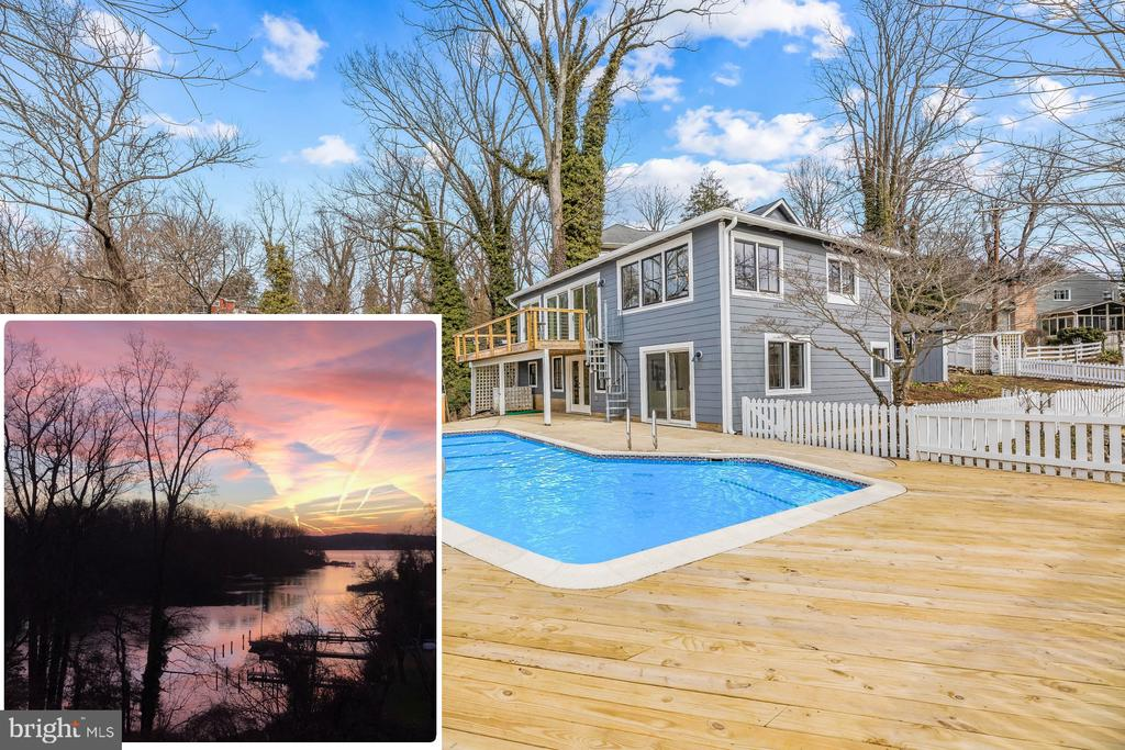 Pleasantly perched on a waterfront bluff with breathtaking, panoramic views of Chase Creek, this completely renovated charming cottage in Pines on the Severn provides the perfect turn-key escape.  This home features the highly sought-after western facing water view which delivers the ultimate vista to savor glorious sunsets melting into the Severn River. The water side pool is an entertainer's dream with ample room for sunbathing, poolside dining and cooling off on a hot summer's day.  Stroll past the picket fence, up the stairs to the quaint front porch and into the light filled foyer where it becomes immediately evident that this is a truly special home.  Walls of glass showcase the million-dollar water views.  The attention to detail and the custom designer touches throughout bring a true sense of warmth and style.  This is essentially a new home, decked out with top tier appliances, mechanical systems, windows, doors... Totally move in ready!  The main level features an open floor plan complete with a gourmet kitchen with large island, living room with cozy wood burning fireplace, waterside bdrm, full bath and office.  Just off the living room sits an expansive deck which offers the ideal setting for al fresco dining and enjoying the sweeping water views.  Downstairs awaits the waterside master bedroom with en suite full bath, family room, half bath and laundry room.  Custom-built ins throughout the home help to maximize the space. This double (.28) acre fenced lot offers a cornucopia of gardening opportunities plus a large driveway with room for 4 cars.  The Pines on the Severn amenities are second to none including a boat ramp, marina, sandy beach, playground, canoe/kayak storage, basketball and tennis courts, nature trails, the Chase Creek swim club and the scenic B&A Trail is .5 miles just up the street.  Don't forget to bring your boat!!  Your fellow mariners will be envious of the close proximity from your doorstep to some of the best boating/fishing/enter