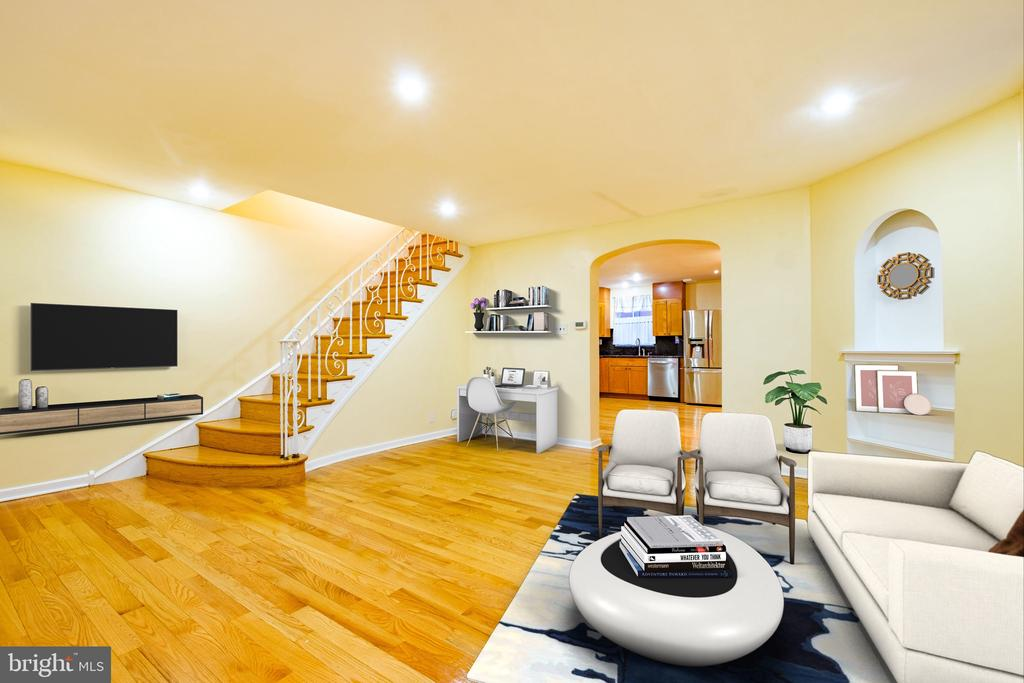 ****All OFFERS will be REVIEWED on the 13th of March. Must be in by 8pm 3/13/2021.****  Welcome to this super SPACIOUS & AIRY end unit home in the popular Mayfair area! As you enter, you will notice the gleaming, newly finished hardwood floor throughout the house. The living room may be the most spacious Philly living room and kitchen you'll ever step foot in. This OPEN CONCEPT  kitchen was upgraded not too long ago, and it is large enough to fit an island and 8 seats dining table for your entertainment. Upstairs you will find a master bedroom with ensuite (a bedroom with a full bathroom). Bedroom 2 & 3 down the hall will share the hallway full bathroom. The basement is a finished basement with another bedroom or a guest room. The basement also has a full bathroom, laundry room, and a walkout door to the driveway that could fit two cars.  Things I love about this house: super spacious, end unit, so many bathrooms, finished basement, driveway, quiet neighborhood, close to highway and all plazas.
