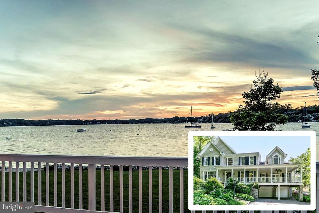 Gorgeous Severn River waterfront in the coveted community of Round Bay. This five bedroom, five and a half bath home is the perfect oasis for gracious waterfront living. With over 5,200 square feet of remarkable living spaces, the residence offers an open floor plan featuring a grand gourmet kitchen with over-sized granite island and counters, great room with wall of windows and double-sided fireplace. The lovely family room and waterfront sunroom, can be converted into an independent living space, perfect for a main level in-law or au-pair suite complete with full bath and potential for wet bar or kitchenette.  Second level highlights include the master suite with gorgeous waterview seating area, fireplace, and bath with soaking tub and glass enclosed shower. There are three additional bedrooms, one with private waterview balcony and ensuite bath, laundry room with storage and folding station. A third level features an additional expansive bedroom with ensuite bath.  The home is completed by an exquisitely landscaped backyard and expansive deck, perfect to enjoy life on the Severn River. A mooring may be installed in front of your home with easy access from the property. The Round Bay community has amazing amenities that include community beaches, activities, dances, picnics, parties, sailing, camps, swim team, boat launch and piers.Please view the Matterport Virtual Tour by clicking the video Icon or by copying and pasting this https://my.matterport.com/show/?m=idx7qduqsex&brand=0