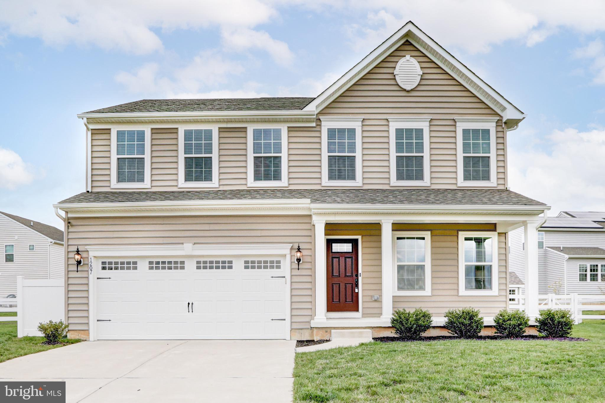 """Welcome to the completely SOLD OUT neighborhood of High Hook Farms! Located on the north side of Middletown, this development is well known for its convenient location to Route 1 &13 and one of the BEST school feeder patterns in the state of Delaware!  This GORGEOUS 4 bedroom home is ready for you to move right in! Known as the """"Venice"""" floor plan by Ryan Homes, this home has over 3,000 finished square feet spread over 3 finished floors!   As you walk in the front entry, you will be welcomed by the living room area that can also serve as an office for any work or school needs. Walking down the hallway you'll appreciate the wide plank hardwood floors, coffee bean color, that expands throughout the first floor!   Entering the kitchen, the beautiful 42"""" espresso cabinets will """"wow"""" you with their luxury look, and include a granite countertop, big island, and all stainless steel appliances! Through the doors, just off  the kitchen is a wonderful outdoor space perfect for entertaining. A HUGE 500 sq ft brick patio including a seat ledge opens up to the grassy area which is entirely fenced in and there is a shed for outdoor storage.  (Don't worry those trees will quickly grow up and give you more privacy!). Also outside, we'd be remiss if we didn't point out the most obvious reason for buying this home... THE VIEW!  Just across the street is an endless protected wetland, so peaceful you may want to set up a chair out front and never come inside!  But for now, lets go back inside and talk about the 2nd floor.... Upstairs you will find three bedrooms (oversized!), a hall bathroom, and the best part, a full walk in laundry room!!  The owner suite is at the end of the hall and features a huge walk-in closet and large bathroom also with granite counters, tile surrounds, and a soaking tub. Also, custom window blinds and treatments are also included throughout this home! Last but certainly not least, this home has a FINISHED BASEMENT!  Enjoy endless possibilities with this addit"""