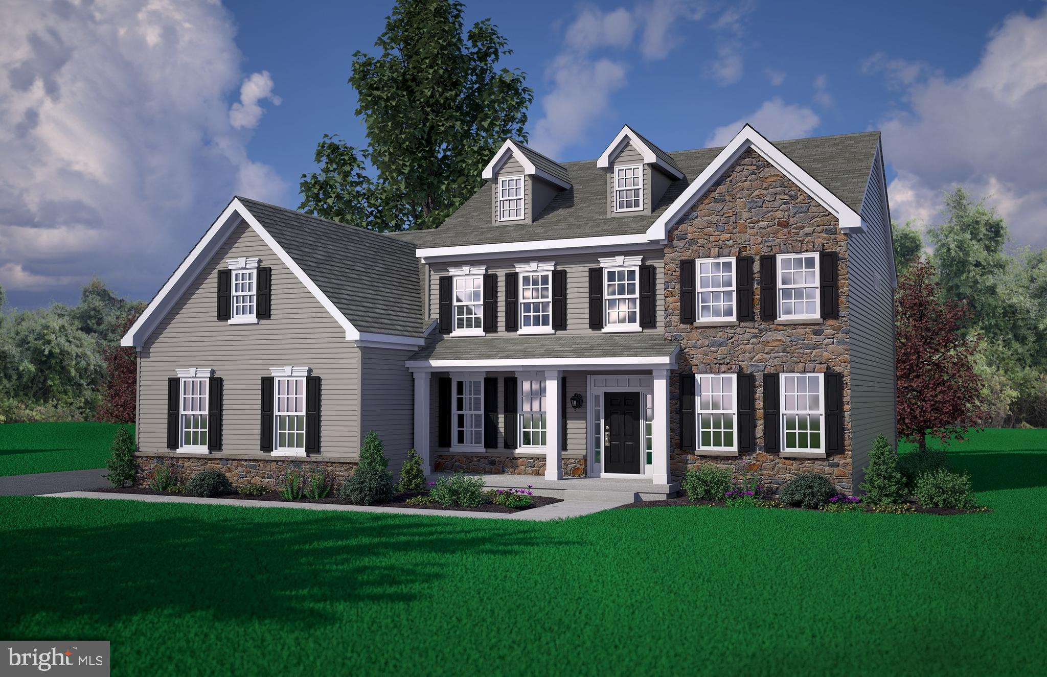 The Bristol Country on homesite #18 featuring 4 bedrooms, 2.5 baths,  2.5 car garage, fireplace and second walk-in closet at the Owner's Suite. *Sample artist renderings shown.