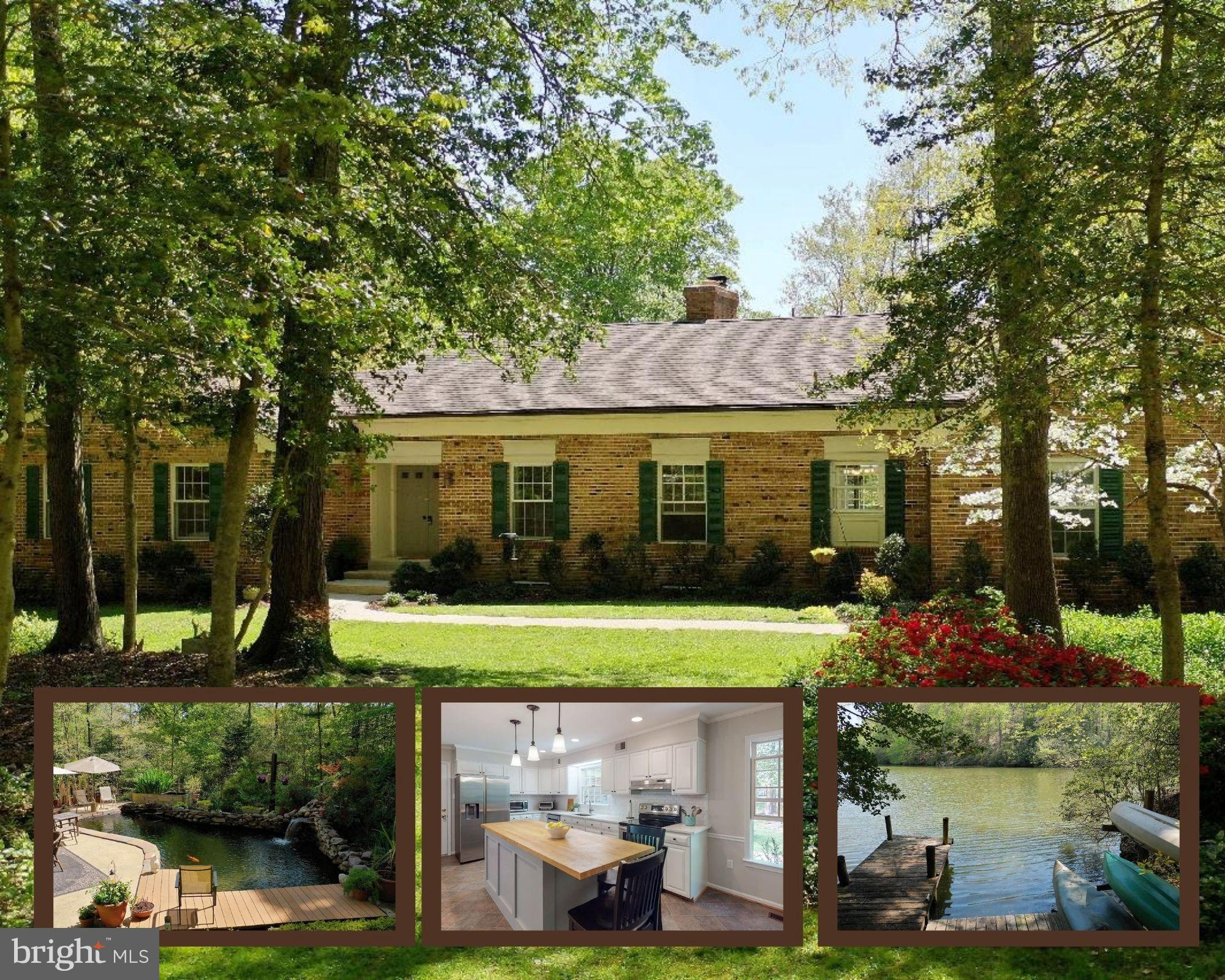 Ferry Landing Woods at it's best!  Beautiful custom home with lake front access! But that is not even  the best exterior feature!  You also have a beautiful patio with gorgeous koi pond with a waterfall. There is a large deck off the back of the house with seasonal views of the lake . To the right rear of the lot at a distance you can seasonally see the Patuxent River too!  The perfect outdoor space to rest and relax. Inside you will find lots of beautiful recent updates.  The kitchen is huge with new stainless appliances , upgraded cabinets, and lovely new Quartz countertops and a big island for meal  preparation.  New carpeting in bedrooms and living room.  There is a double sided fireplace in the family room and living room.  Capped off now but easily removed.  One of the best features is the vaulted ceiling sunroom off the family room. Perfect place to sit and enjoy the sounds of the waterfall and drink in the sun!  The lower level has a full bath and huge recreation area space as well as as a workshop with exterior access to the back yard.  The roof is only a few years old and has solar panels that were just installed. Geothermal heating and cooling and the panels give you average monthly electric bills of around $100!  All brick construction and community access to the Patuxent River give you so much of what you have been searching for!  Voluntary HOA for gate access to the River.  Offer Deadline is Monday April 26th at 2pm.