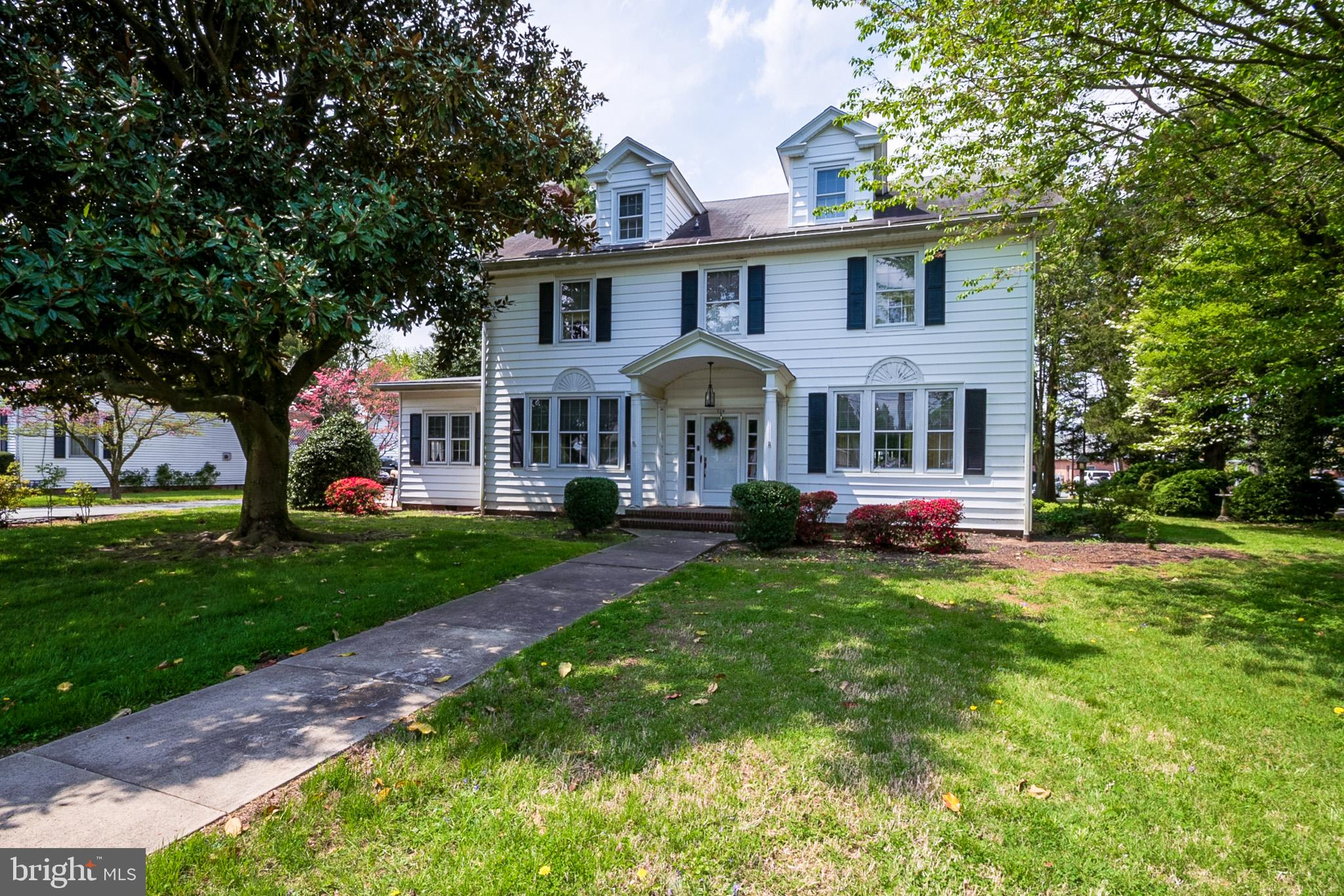 Take a step back into time with this classic 3 story Colonial in Downtown Dover.   A quick stroll to the Green and the State Capitol building.  High ceilings and large room sizes are what you'll find here, along with original hardwood flooring, large moldings and wainscoting. Check out the swinging door between the kitchen and the butler's pantry - charming features not seen in modern homes.   This stately home sits on a generous .42 acre lot and has a detached 2 car garage.   Think of the possibilities!  This classic can become a grand home once again with the right vision.