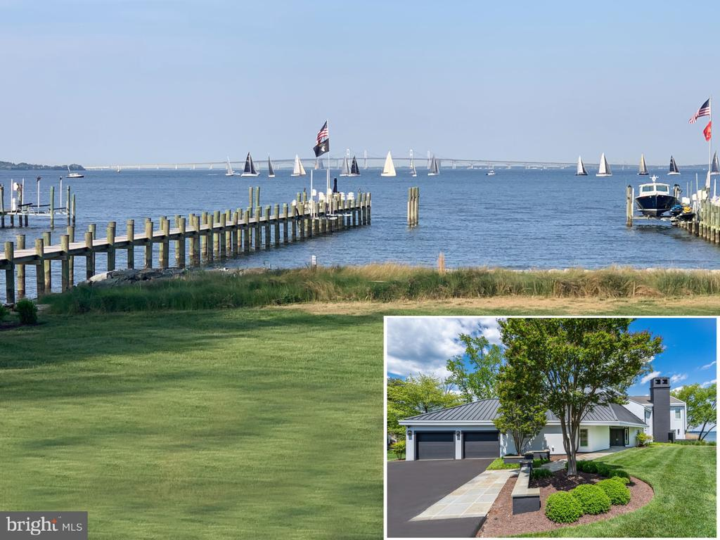 Striking contemporary home, perfectly situated on the banks of the Chesapeake Bay with over 100ft water frontage and bordered by Chase Pond.  Sweeping panoramic views abound which provide the best of both worlds in waterfront living.  Either sit back and watch the ships navigate through the Bay waters, under the iconic Bay Bridge and beyond or simply savor the intimate views of Chase Pond and its abundance of wildlife.  This 3 bedroom 3.5 bath home is tastefully curated with modern touches of sophistication, open floor plan with floor to ceiling windows, and spacious rooms with soaring ceilings and endless views offering the perfect waterfront escape.  The main level boasts an ensuite bedroom,  office with vaulted ceiling, and screened porch all with tranquil views of the pond.  The screened waterside porch, just off the kitchen, makes the perfect setting for al fresco dining.  The true centerpiece of the main level is the bayside double-height great room, open to the kitchen and dining room, with unmatched views of the Chesapeake Bay, framed by beautiful landscaping and a lush back lawn leading to the new private pier and living shoreline.  The new custom built pier is the perfect setup for a boating enthusiast, providing 2 jet ski lifts, a large slip, water/electric and shore power station, or just kick off your flops and soak up the rays on the private sandy beach.  The upper level boasts a comfy lounge area with 2 ensuite bedrooms including a spectacular bayside Owner's suite with gas fireplace, private tree-top balcony, luxurious spa-like bath, custom closet, and automatic curtains to reveal the endless views. This home is totally turn-key and move-in ready!  Don't forget to bring your boat (or 2) because you're perfectly located to take advantage of the Bay's best cruising and fishing areas.  Attractive destinations such as the Annapolis Harbor, Baltimore's Inner Harbor, St. Michaels, Oxford, and Solomon's Island are only a short cruise away.    Don't let this
