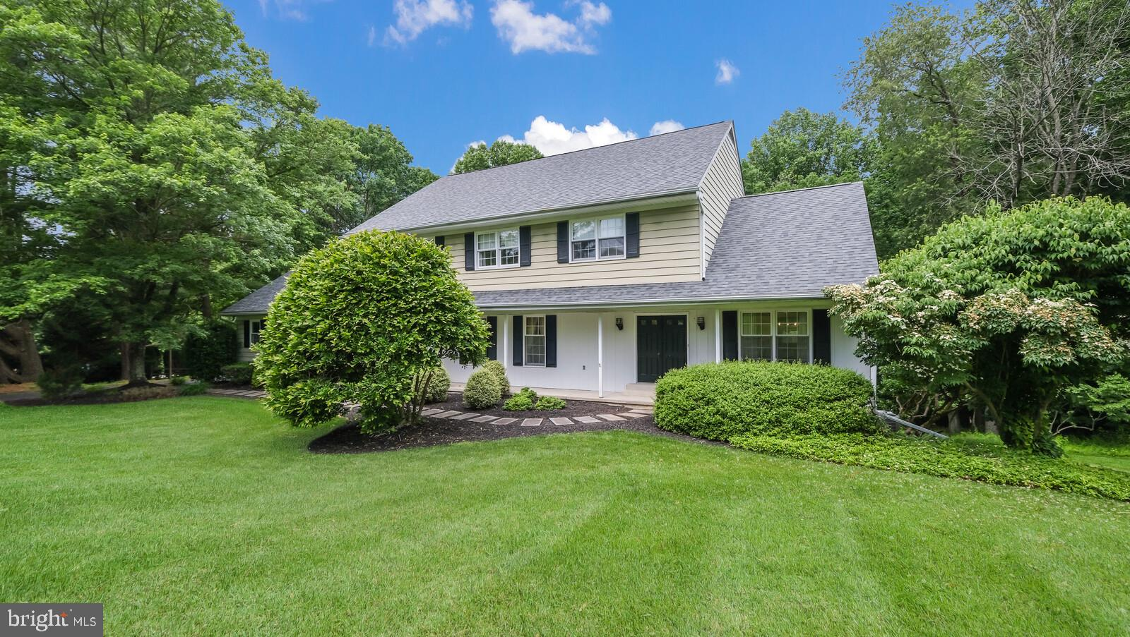 Well-maintained 4 bedroom, 2.5 bathroom home in Dilworthtown Oaks Community, with Unionville-Chadds Ford Schools! This beautiful home welcomes you with a covered front porch and double front door to the tiled foyer.  The main floor includes the living room, formal dining room, and behind them the open-concept kitchen, breakfast room and  huge family room stretching along the full length of the home.  The kitchen and spacious breakfast area have bright hardwood floors. The updated kitchen boasts granite countertops, tall cherry cabinets, sleek black appliances, two wall ovens (one convection),  a corner sink, dual peninsulas and a glass stove top.  The adjacent family room has a brick fireplace with a raised hearth, wall-to-wall carpet, a glass sliding door to the back deck,  and another door to the screened-in  back porch. Additional conveniences on the main level are a huge mudroom with access to the attached 2 car garage, closet space, laundry room with utility sink,  and a powder room.  Upstairs, the primary bedroom suite boasts a dressing area with convenient sink, walk-in closet with attic access, built-in shelving,  and an updated bathroom with a huge tile shower.  The other three spacious bedrooms on this level all have wall-to wall carpet, generous closet space, and lighted ceiling fans.  The hall bath has an updated vanity with two sinks, ceramic tile floor and tub shower.   The lower level of the home is partially finished with plenty of windows and a door to the back yard, wall-to-wall carpet, dropped ceiling and overhead lighting. There is also plenty of unfinished storage space on this level and rough-in plumbing that offers the possibility of an additional bathroom.  Lots of  lovely outdoor spaces complete this home, including the front porch, rear deck, rear screened-in porch with a concrete floor, shades and a view of the beautiful backyard and tall trees beyond.  The large  2 car garage has extra storage and a vaulted ceiling.  Mature trees and plan