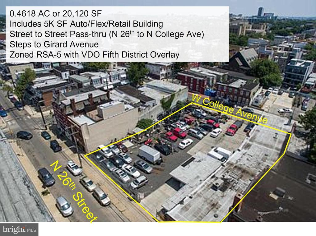 • Street-to-street parcel available for land lease, development, and/or sale in  Brewerytown/Philadelphia. • Steps to the Girard Avenue corridor.  • RSA-5 Zoning with VDO overlay allows many uses. Existing site includes a 5,490 SF flex/industrial building with a prior auto use.  • 5,490 SF flex/garage is currently vacant. • Clean Phase I and Phase II.  • Ownership prefers land lease but will consider building/site direct leases, auto dealership inventory storage, development, land lease and sale.