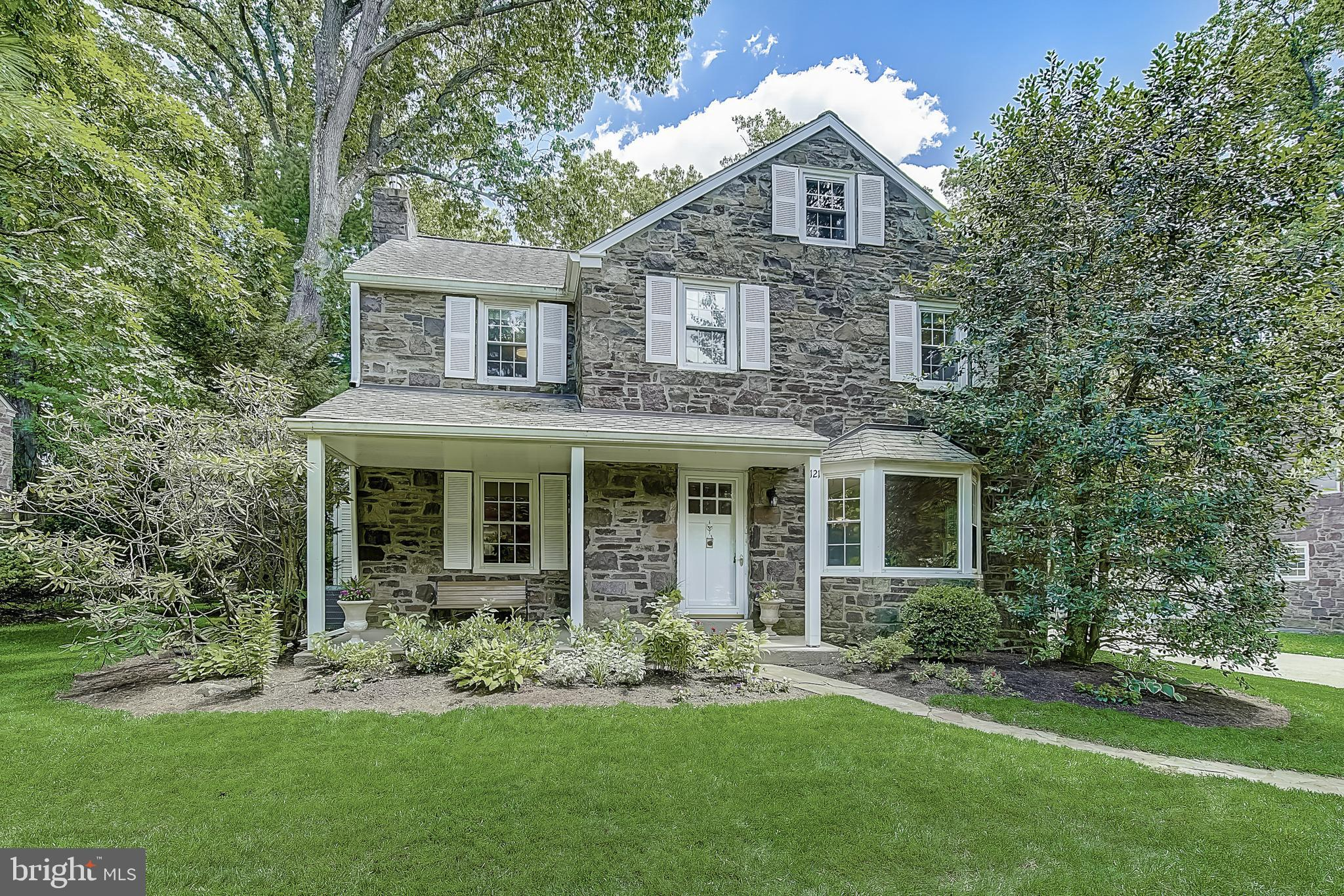 Don't miss this beautiful stone colonial in the sought-after Haverford School District! This charming home has been lovingly maintained and features several desirable details and upgrades, including crown molding, first floor hardwood floors, new carpeting, upgraded windows, skylights throughout the home, recessed lighting and a two-car garage. The main level features an upgraded kitchen with Subzero refrigerator and reverse osmosis water filtration system, as well as a formal dining room with a large bay window, and a family room with double-doors leading to the spacious refinished rear deck overlooking the private backyard. The second floor offers 4 bedrooms, including the Primary Bedroom Suite featuring Cathedral ceilings, skylights, double closets and an ensuite bath complete with a large whirlpool tub. Laundry is also located on the second floor for convenience. Enjoy plenty of storage in walk-up attic and partially finished basement. Located in close proximity to the SEPTA high speed line and regional rail, easy access to 476, and plenty of shopping & eateries. Close to Haverford Community Center, Elementary School, multiple parks and playgrounds. This is the one!