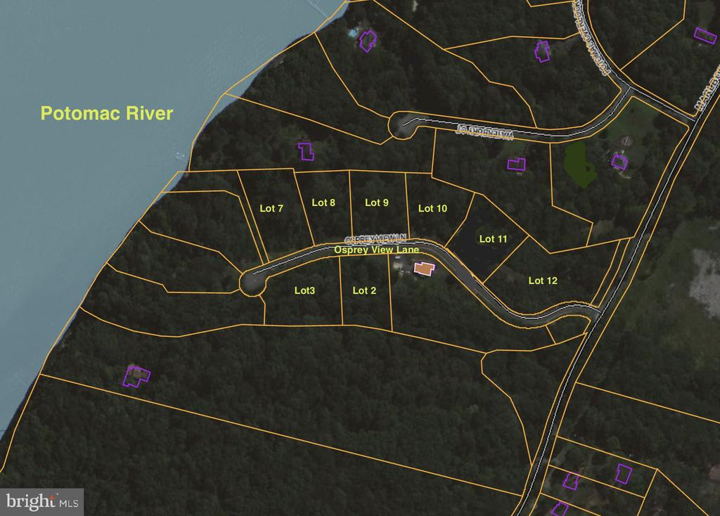 UNBELIEVABLE OPPORTUNITY FOR BUILDER:  build a subdivision or craft your personal dream home.  Buy any or all of these 8 finished hilltop lots in Marlborough Point, adjacent to the Potomac River.   5 short miles to VRE Brooke Station.  Lots offer varied views - river, wooded, or Accotink Creek - and topography.   Paved roads, electricity box at each lot.  Previous septic applications filed.