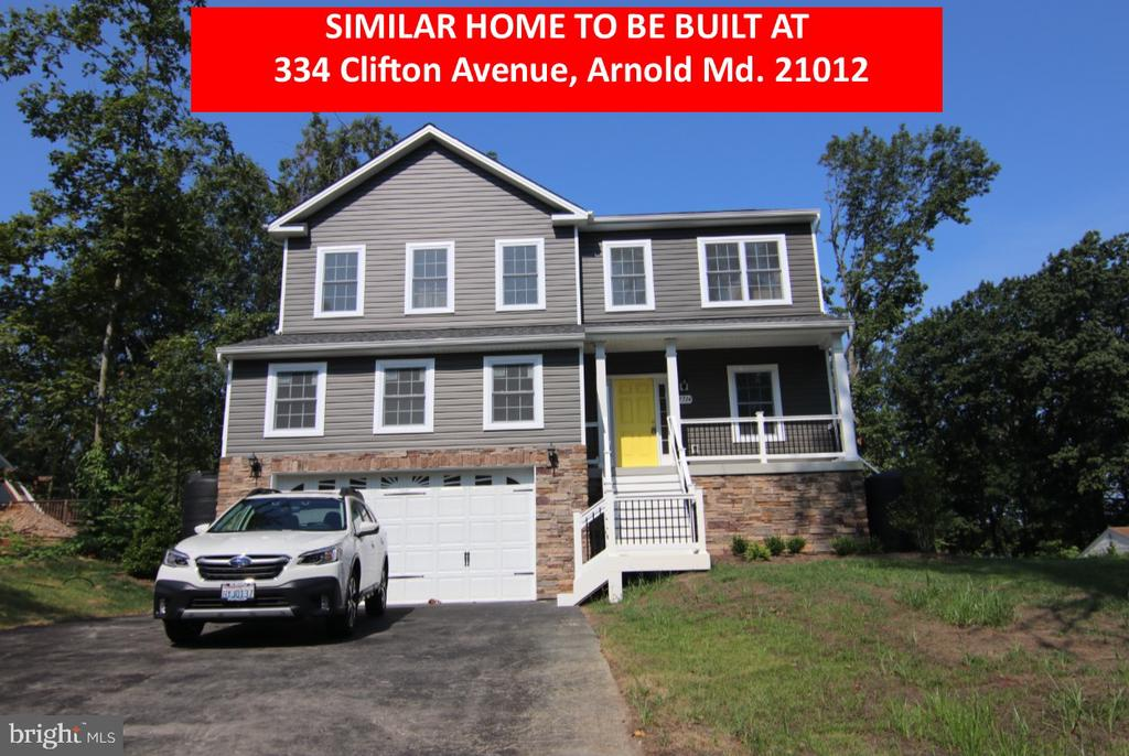 NEW CONSTRUCTION....  Address will be:  334 Clifton Avenue, Arnold, MD 21012.  This amazing house is breaking ground the week of July 19th and will be ready in 3 to 4 months.     It is being built by AR Builders and they have been building in the area for over 40 years.      It will have hardwood floors on the main level and upper gallery (hallway) and carpet on the second /bedroom level.    The kitchen will have Wolf Classic white cabinets, all appliances stainless steel in the kitchen, island, pantry, gas range, granite countertops.  The family room has a gas fireplace.   The owner's suite bathroom will have a corner shower tiled with a glass door and walls,  a soaking tub plus double vanity.   The owner's suite will have cathedral ceilings and his and hers walk-in closets.        There will be 4 bedrooms and 2.5 Baths.  9 ft ceilings on the main level.  The HVAC will be in 2 zones.   There will be a finished mudroom leading from the 2 car garage to the family room.   Recessed lighting in numerous locations.   The stairs to the second level will be Oak.   There will be Mainstreet Siding (blue)  and the stone veneer around the front of the garage and under the porch.    Plans will be available soon. All this plus Broadneck School System!