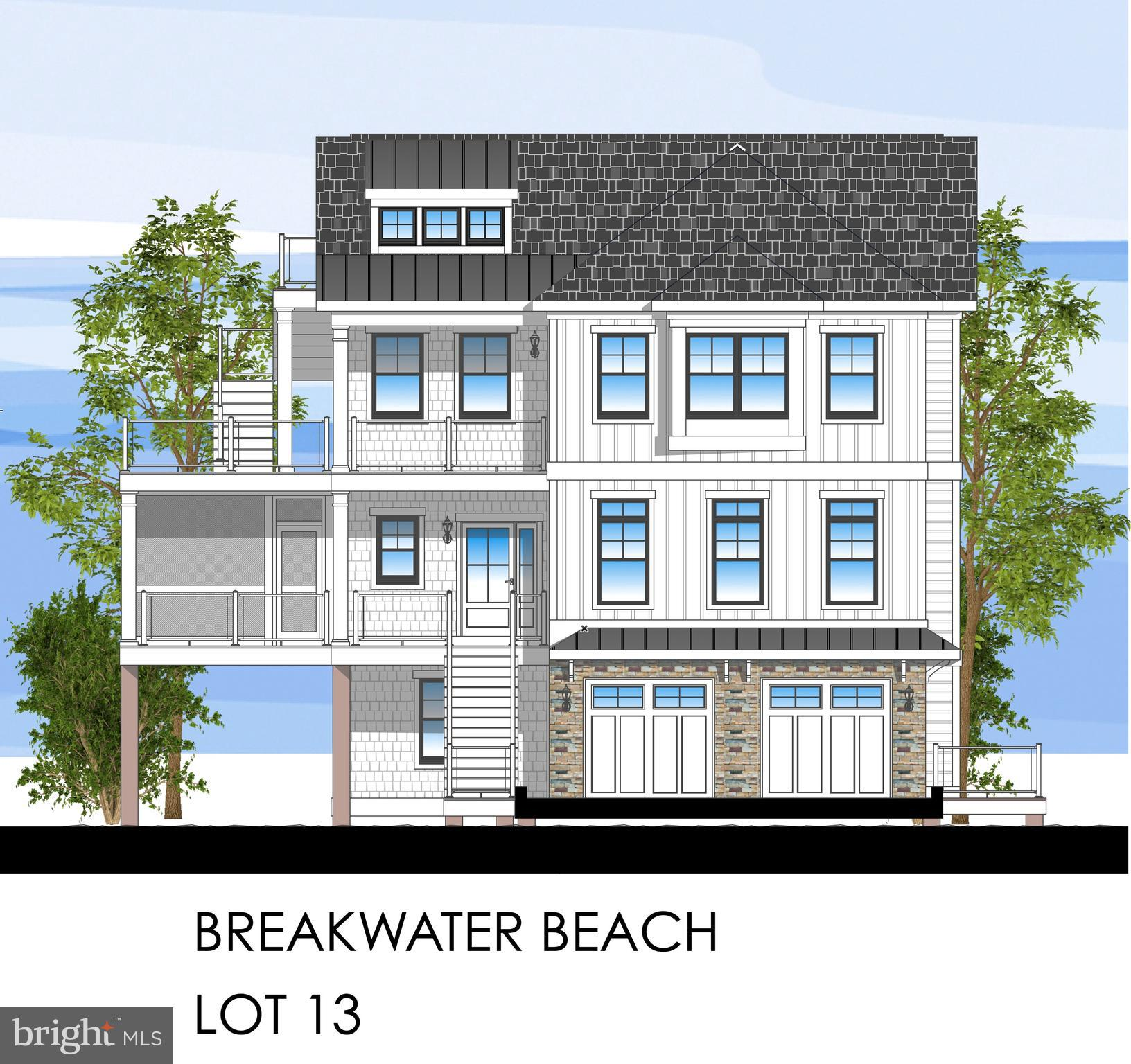BREAKWATER BEACH - Direct Views of the Indian River Bay and Sunset!  New construction custom home broke ground in May 2021! Discover this rare offering of a new construction custom home located ocean block in the prestigious gated oceanfront community of Breakwater Beach! Fabulous views of Beach Cove and the Indian River Bay. Custom coastal home features quartz counters, wide plank flooring, shiplap, coffered ceilings, fireplace, tile showers and baths, lots of outdoor living space on decks, screened porches, & roof top deck.  Elevator shaft provides access to all three levels (elevator is optional starting at $40K) and comes standard as three closets for storage.  Ground level features two car garage, foyer, laundry room, family room, storage, and deck. Stairs go down from deck to fenced and sodded back yard.  Second level is an open floor plan with kitchen, great room with fireplace, dining room, screened porch, and deck with views of the bay. Master Suite and powder room on level two as well. Third level features three master suites and large deck with stairs to roof top deck. 4,048 square feet heated.   1,860 square feet of decks & porches.  489 sq. ft. garage.  6,397 Total Square footage. Breakwater Beach is a gated community with guarded beach.   Lots with no builder tie-in and other lot home packages available.  Home delivery 1st quarter 2022.