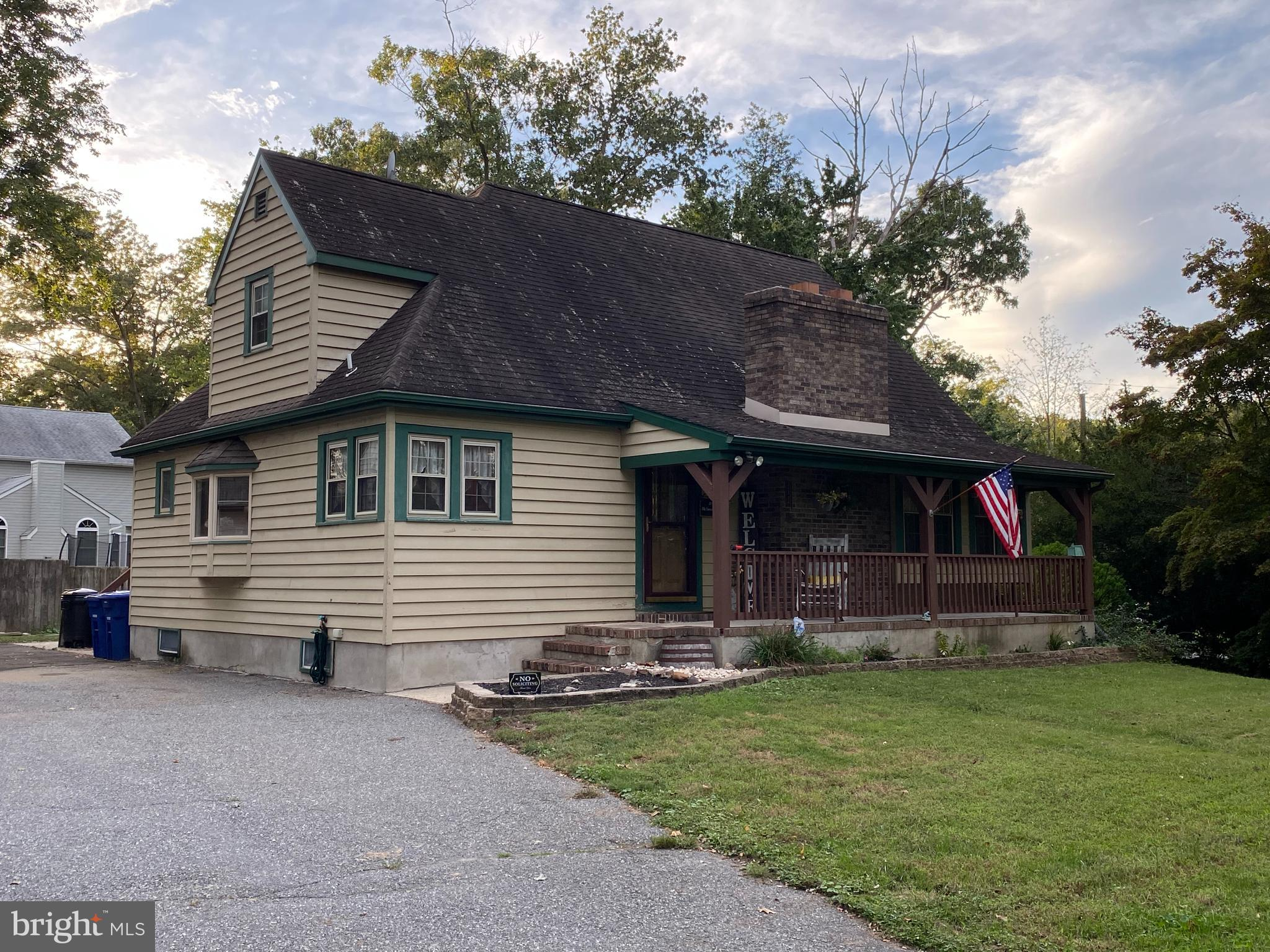 """SHOWINGS BEGIN SUNDAY Sept. 26. OPEN HOUSE 9/26 1-3 PM! Welcome to 118 New Jersey Ave. This Custom built Cape Cod in Hainesport Twp. has a rustic country charm that is ready for new owners.  This house has 4 bedrooms and 1 1/2 baths has been freshly painted.  Located on a premium corner lot in Rancocas Heights. Detached 2 car garage with extra storage space for lawn equipment, tools or a man cave! Front porch is inviting to sit and relax with a cup of coffee or glass of wine. As you enter into the large carpeted living room with exposed wood beam ceiling and a stone fireplace. (non working fireplace but easily can be converted  to be full functioning - fireplace is in As Is Condition) 2 bedrooms are located on the first floor. Inviting eat in kitchen with Black stainless steel appliances with gorgeous hardwood floors and Oak cabinets. Laundry room and full bathroom is also located on main floor. At the back of the house is an enclosed """"all season"""" porch with easy access to the back yard and detached garage. Upstairs is the master bedroom , 3rd bedroom with dark hardwood floors and a half bathroom.  Fully finished basement with laminate floors, TV/game area, bar, with plenty of space for a pool table, office, craft area and storage area. Carpets throughout .  Backyard has a play area with wooden swing set waiting for your kids. Bring your furry family...Dogs can have full run of the entire yard with invisible fence all ready installed. Washer and Dryer are Samsung.  Pack the family this house is ready for you to call it HOME and Ready to host friends and family for the upcoming holidays. Great community and school district! Elementary is K-8th.  Convenient to RT. 38, 295 and NJ turnpike. Easy commute to Philadelphia. Lots of shopping and excellent restaurants."""