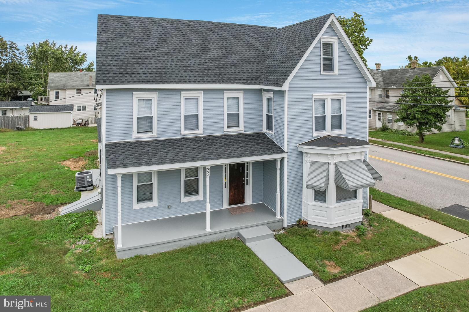 This beautiful home, beaming with curb appeal, is situated on a corner lot in the Town of Felton.  The home has been fully renovated, inside & out. The front exterior of the home features elegant canted bay windows with intricate detail, awnings and entirely new vinyl siding. The front porch adds to the character and charm of the home. The restored front door opens to the living room, surrounded with windows to welcome the sunshine. To the right of the entrance sits a large family room with bay windows, looking out from the front of the home.  Past the living room sits the spacious new kitchen with high end vinyl flooring, stainless appliances, granite and a center island for prep and dining.  Notice that the dining area can accommodate an oversized table.  Don't miss the gallery of windows, bringing in even more natural sunlight.  To the back of the kitchen you will find an entrance leading to a bonus room that can be used to the owners delight.. hobbies, gaming, fitness, office, etc.  Off the bonus room is a main floor full bathroom. In the kitchen you will see a door to your left that leads to an ample pantry/mud room. A separate utility room sits to the left.  The mud room has a side door with a pet door that leads to a new concrete pad and a lovely backyard.  The backyard features a newly installed driveway and a detached garage.  This lot in the Town of Felton is of a considerable size suitable for bbq's and entertaining. As you head up the stairs to the second level of the home you will find two large bedrooms, a 1/2 bath and a full bath. Note that one of the bedrooms on the second level is very large and has a walk in closet. The 3rd level has a fully finished fourth bedroom and a second multi-purpose space that can be used as a play area, a reading space, office, etc.  This is a large home that you must see to appreciate fully.  The transformation of this home includes the following NEW features: drywall, hvac (2 zones), plumbing, electric, carpet, vinyl fl